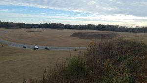 Moundville Archaeological Park. Large open field with several flat topped, ceremonial Inidan mounds.
