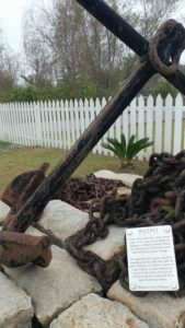 Whitney Plantation Wallace, Louisiana. Large rusty anchor with placard.