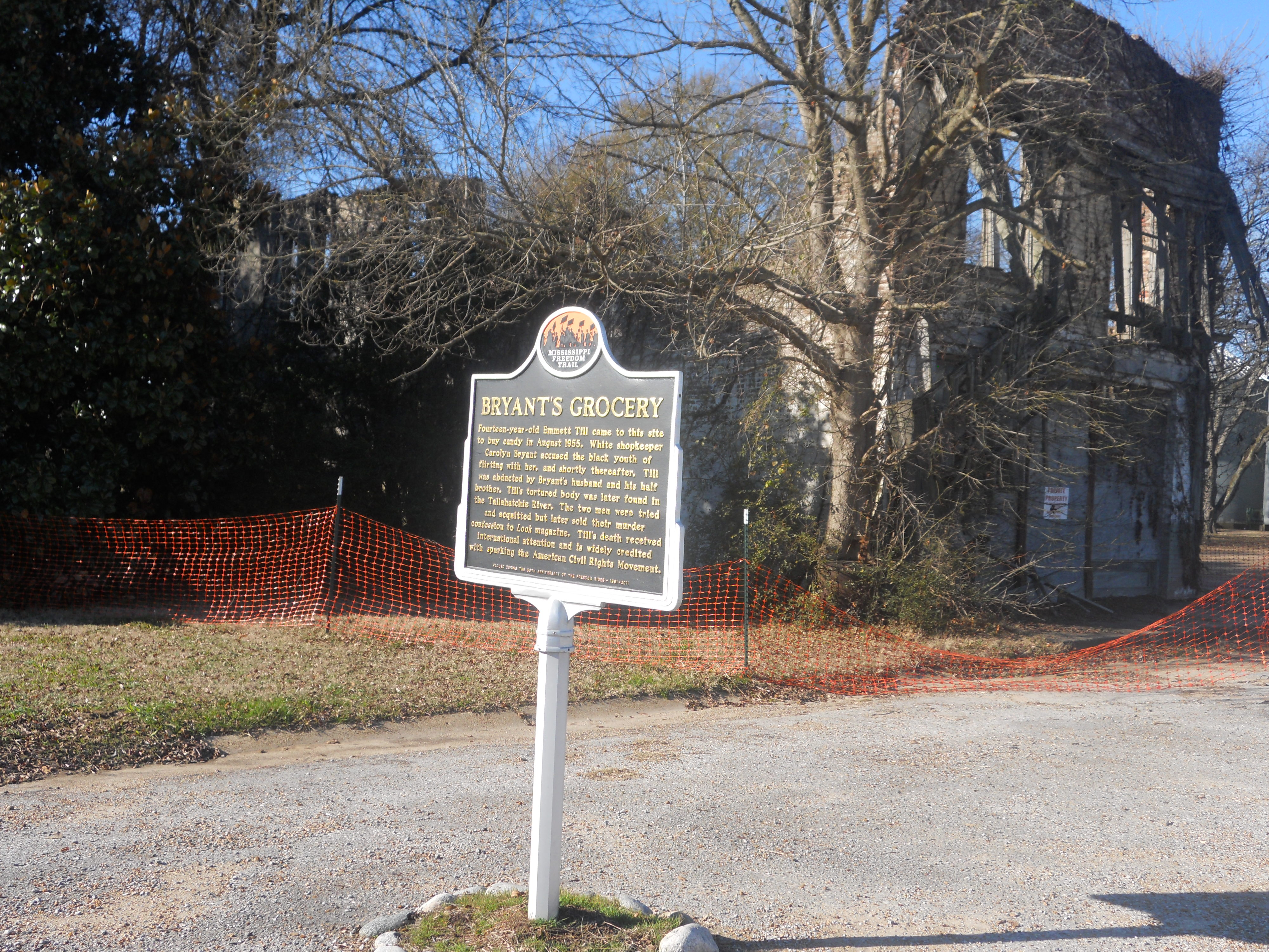 Bryants Grocery. Money, Mississippi. Historical marker in front of falling down building