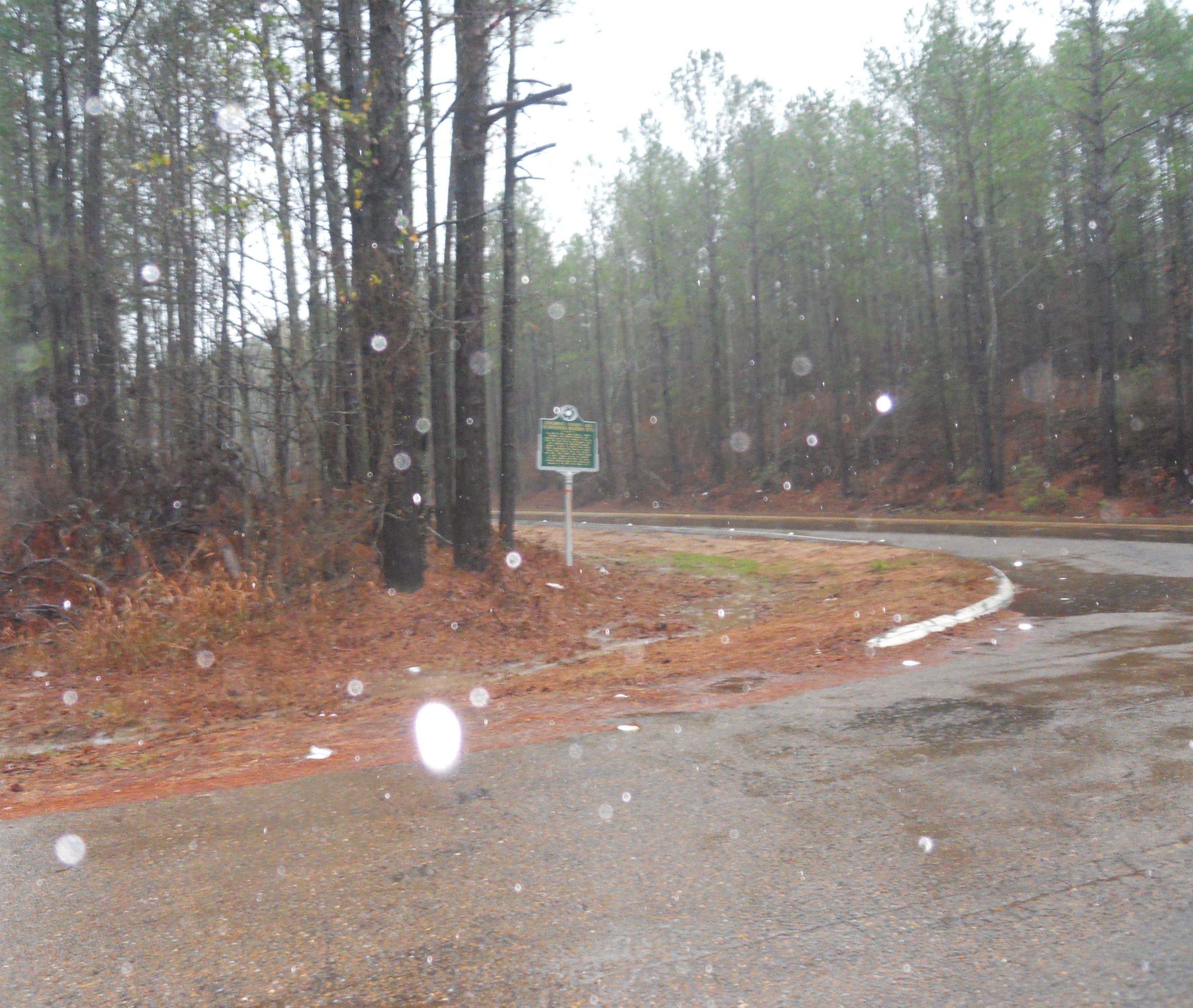 Freedom Summer Murder Site Outside of Philadelphia, Mississippi. Historical marker beside wooded road on rainy day.