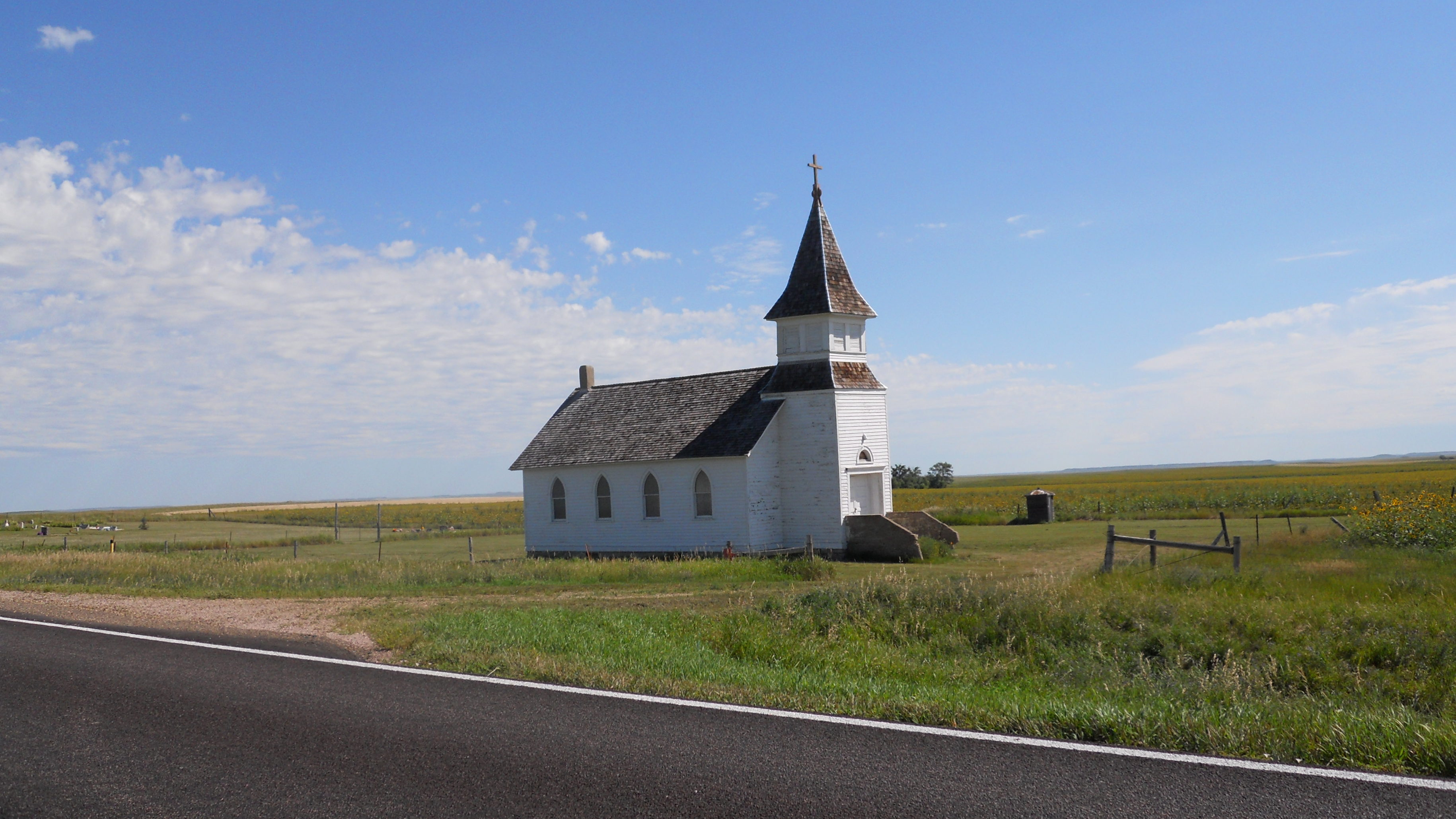 old, white painted Church in South Dakota Countryside along Route 79